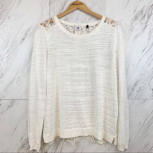 Cabi     Sophia Lace Back Sweater Style 5005, M